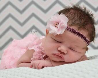 Pink Vintage Tulle Flower Headband Photo Prop