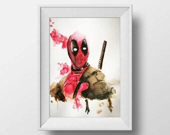 Framed watercolor Deadpool