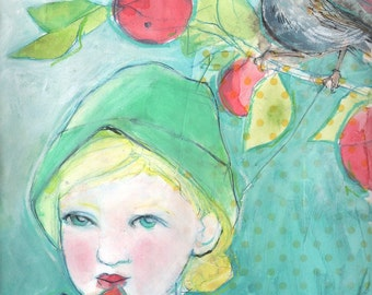 ACEO art reproduction - Eating Watermelon In The Backyard