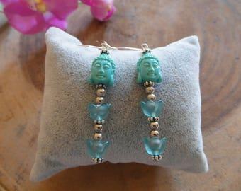 Green Buddha earring with lilies