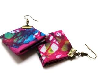 Square origami fabric earrings, origami earrings, square fabric earrings