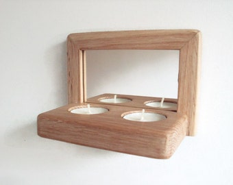 Rustic wood frame mirror / oak tealight candle holder