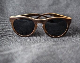 Wooden Round Sunglasses, Dark Wood Sunglasses with Polarized lenses | Womens Sunglasses | Mens Sunglasses