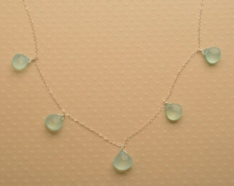 Aqua Blue Gemstone Necklace, Blue Green Gemstone Necklace, Summer Necklace, Healing Gemstone