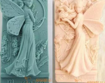 2 designs lot Flower Child Fairy with Wings Lunlun Angel Silicone Soap mold Handmade 3d silicone mould DIY Craft molds S133
