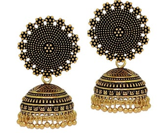 Oxidised gold Plated Earrings/Jhumka/jhumki/indian jewelry/bollywood earrings/gifts for her