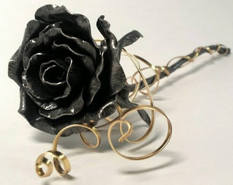 Steel anniversary gift, metal rose, forever flower, metal flower, gothic accessory, steel anniversary gift, 11th wedding anniversary, goth
