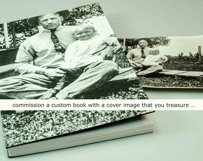 YOUR CUSTOM COVER | handmade coptic bound blank book diary journal keepsake notebook w/ your personal artwork image photo | aBoBoBook 1917