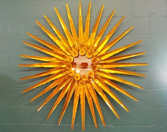 FREE SHIPPING Massive mid century modern attributed Curtis Jere brass wall sculpture starburst mirror sculpture