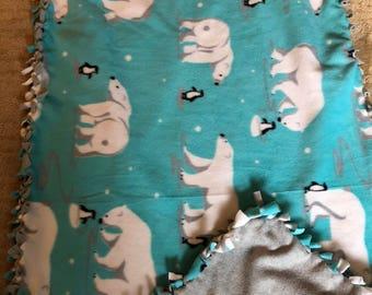Polar Bear Penguin Fleece Blanket