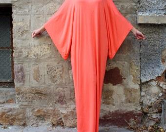 Caftan/ Abaya/ Coral Maxi Dress/ Plus size dress/ Elegant dress/ Plus size maxi dress/ Kaftan/ Party dress/ Long dress/ Summer dress