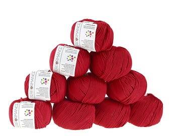 10 x 50g knitted yarn cotton gem #562 Red