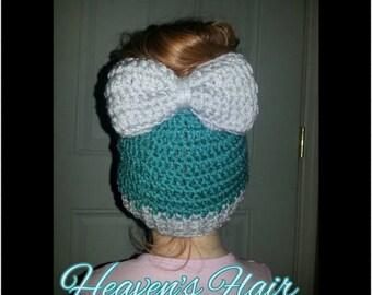 ADULT SIZE-Crochet Bow Bun Hat/Ponytail Hat