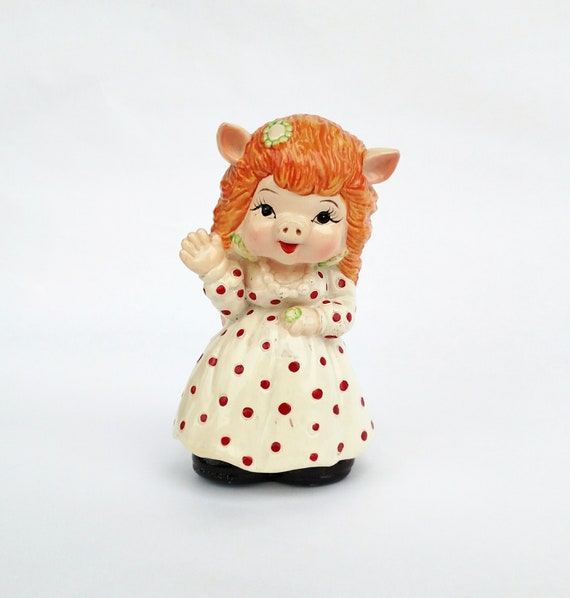 Vintage Pretty Pig in Dress Piggy Bank