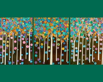 """Huge Original Modern Abstract Metallic Painting """"Fantasy Woodland"""" by QIQIGALLERY 18x24"""