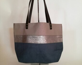 Teal taupe and suede leather handbag
