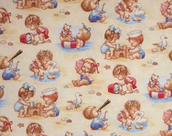 Charming Beach Kids Print Pure Cotton Fabric--By the Yard