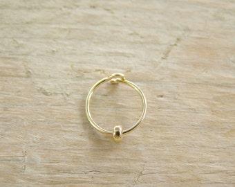 Helix Earring , Cartilage Hoop , Gold Hoop with Gold Donut Bead , Gold  Helix Piercing , Hoop  Earring 20ga 8mm/10mm inner diameter, SINGLE