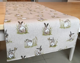 Hare table runner/table runner/country animals/ rustic/spring/easter/table linens/ dining decor/dining table