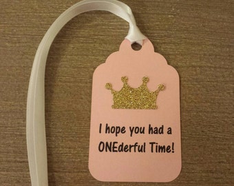 Princess 1st Birthday Party Favor tags Pink Gold Party decor for favor bags or boxes