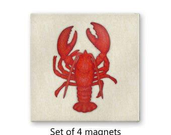 Lobster magnets, fridge magnet set, nautical magnets, art magnets,  set of 4 decorative magnets, refrigerator magnets, kitchen decor