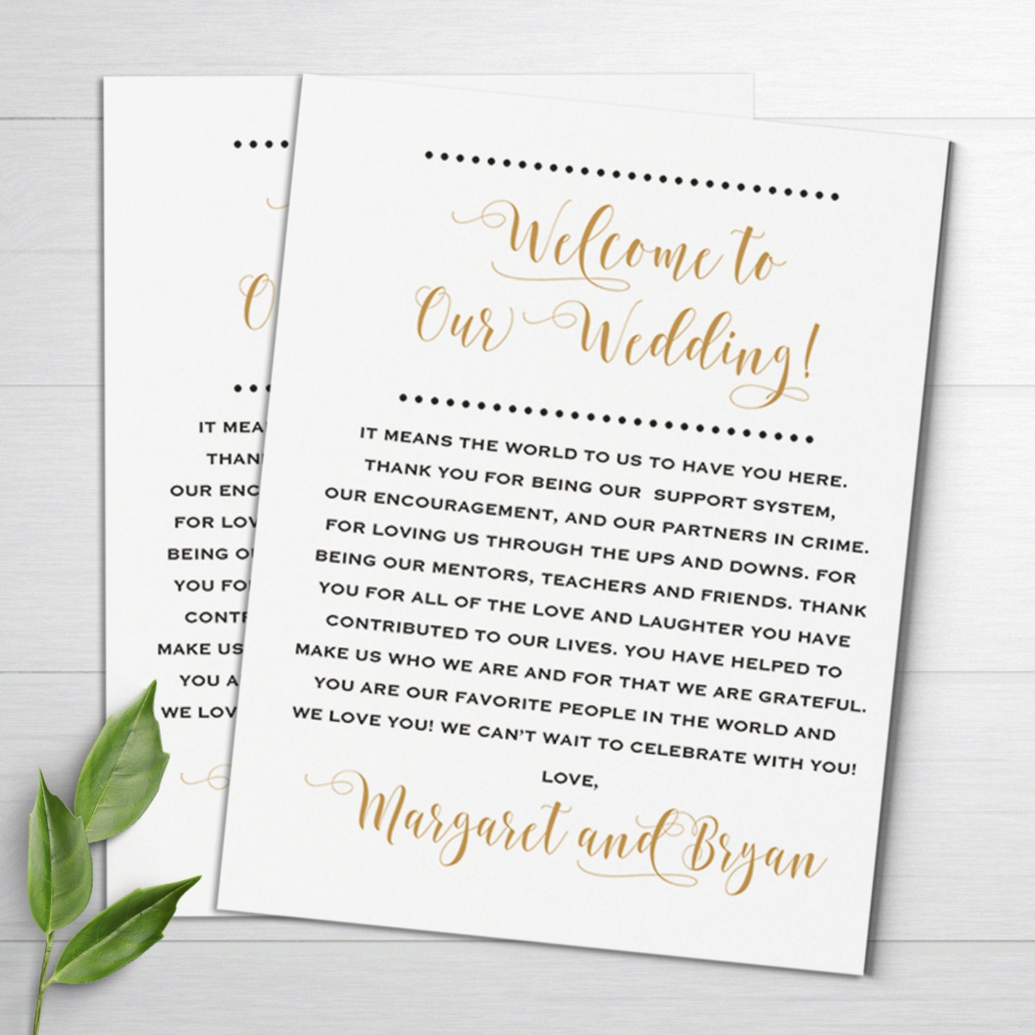 Wedding Welcome Notes Wedding Itinerary Welcome Letters