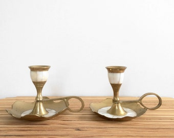 Mother of Pearl and Brass Candlestick holders // vintage modern brass home decor pair of small candlestick holders with handle