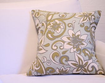 "17x17"" Teal Floral Pillow Cover"
