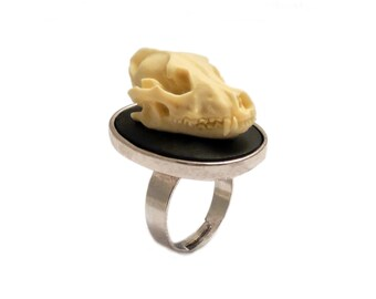 Wolf skull ring silver adjustable goth gothic unisex cameo taxidermy steampunk