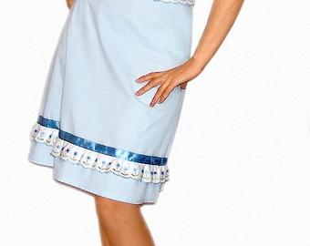 Cotton linen dress in baby blue