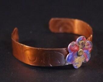 Flower cuff bangle
