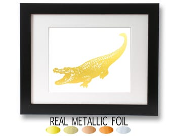 Alligator Art Print, Gold foil Wall Art, Crocodile Picture, Swamp Life Theme, Bayou, Gators, Metallic Animal Art, Alligator Home Decor