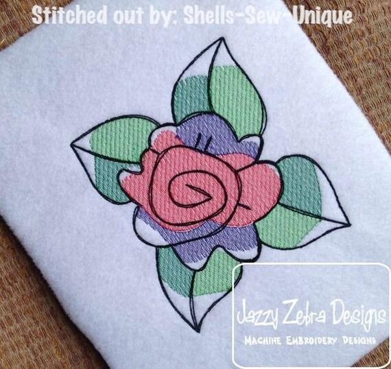 Flower Block 3 Sketch Embroidery Design - flower Sketch Embroidery Design - spring Sketch Embroidery Design - rose Sketch Embroidery Design