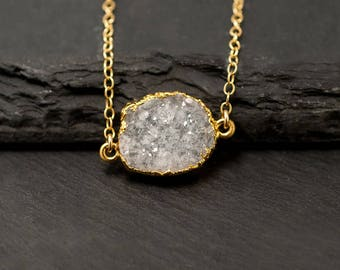 Natural Crystal Necklace, White Druzy Necklace, Gemstone Slice Choker, Druzy Connector Necklace, Dainty Stone Necklace, Bridesmaid Gifts
