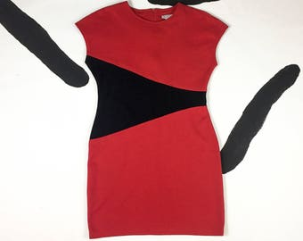 80's black red new wave bandage dress 1980's minimal asymmetric avant garde rad mini dress / punk / bodycon / illusion / metal Blondie M L