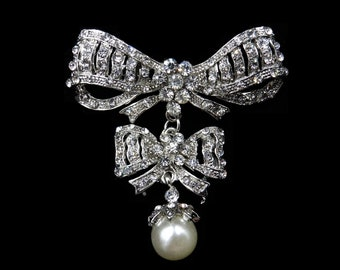 Vintage Paste Rhinestone Silver Double Bow with Pearl Drop Brooch Pin