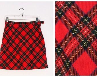 Red Tartan Wool Plaid Mini Skirt Vintage 80s 90s small medium