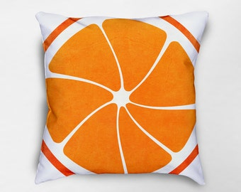 Orange Fruit Pillow, Orange Pillow, Fruit Pillow, Summer Decor, Fruit Decor, Spring Pillows, Spring Decor, Dorm Pillows, Food Pillow
