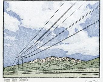 Buena Vista, Colorado - Limited Edition Woodcut Letterpress Art Print