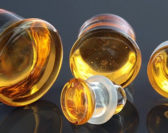 """SF Honey Colorfront glass plugs:  14g, 12g, 10g, 8g, 6g, 4g, 2g, 0g, 00g (10mm), 7/16"""" (11mm), 12mm, 9/16"""" (14mm), 5/8"""" (16mm)"""