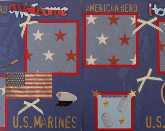MILITARY Marines Welcome Home - Premade Scrapbook Pages w/ Paper Piecings - SSFF