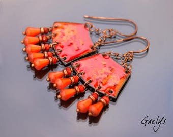 Deelou - copper earrings enameled pendant Picasso glass / coral - Style Bohemian chic - bo Gaelys
