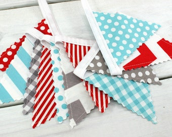 Bunting Banner Garland Nursery Decor Baby Shower Nursery Bunting Fabric Bunting Aqua Blue Red Gray Chevron Dots Grey Gingham
