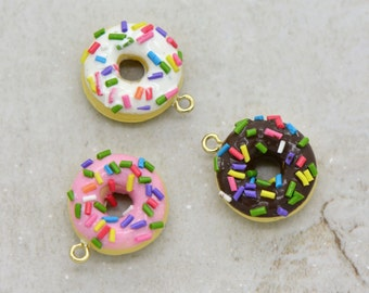 Tiny Donut Charm Hand-Made Clay Donut with White, Pink, or Brown Frosting and Colored Sprinkles Pick Your Flavor (AV040)