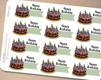 Birthday Cake for Boys || Birthday Countdown Reminder Planner Stickers Perfect for Erin Condren, Kikki K, Filofax and all other Planners