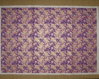 Handmade Japanese Paper, Yuzen Washi, Cherry Blossoms & Tsuzumi Design, Beautiful Purple Large Paper, Free Shipping with Tracking Number!
