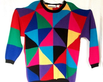 Diana Marco Women's Sweater Size 20/40 // 100% Acrylic // Pattern Front & Back