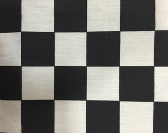 """Black Checkered Print Poly Cotton Print Fabric - Sold By The Yard -  59"""""""