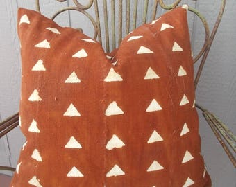 BOHO Rust  Mudcloth Pillow cover   African Mud cloth arrows pillow cover zipper