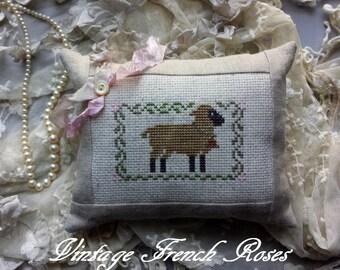 Lavender Sachet Lamb Cross Stitch Oatmeal Linen Ticking Ribbon Vintage Button Trim Baby Nursery Wedding Farmhouse French Cottage Style Decor
